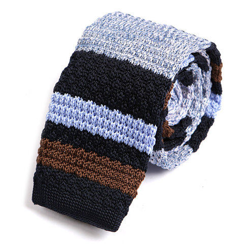 BLUE DENIM BROWN SPIN KNITTED TIE - Handmade Silk Wool And Knitted Ties by Tie Doctor