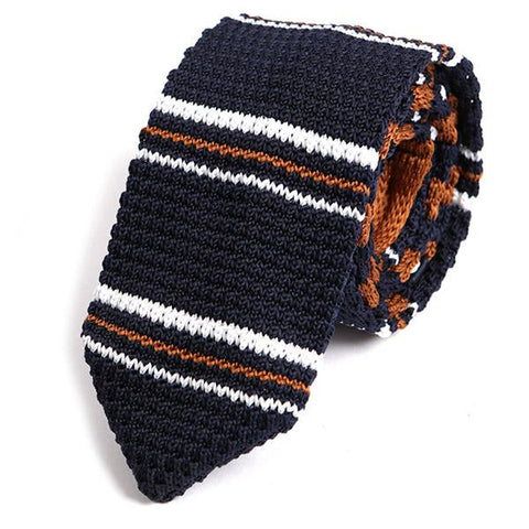 Navy Striped Pointed Knitted Tie - Handmade Limited Edition Ties by Tie Doctor