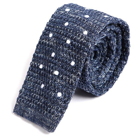 Blue Denim Polka Dot Knitted Tie - Handmade Silk Wool And Knitted Ties by Tie Doctor