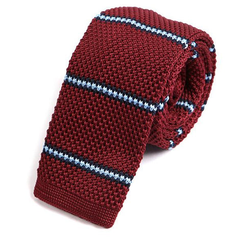 Burgundy & Blue Striped Knitted Tie - Handmade Silk Wool And Knitted Ties by Tie Doctor