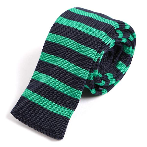 Mint Green Striped Knitted Tie - Handmade Silk Wool And Knitted Ties by Tie Doctor