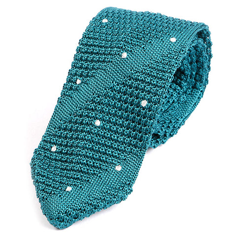 Ozwald Teal Pointed Silk Knitted Tie - Handmade Limited Edition Ties by Tie Doctor