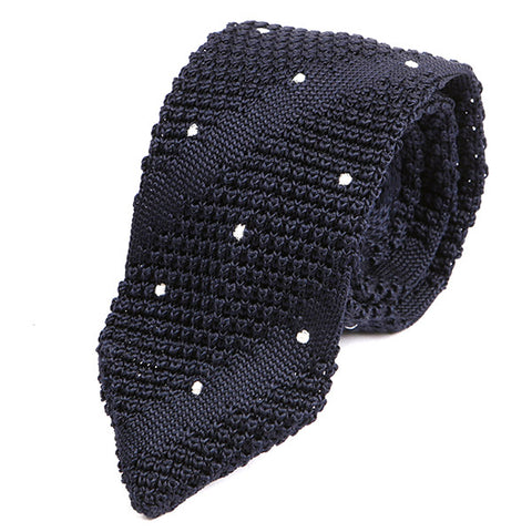 Ozwald Navy Pointed Silk Knitted Tie