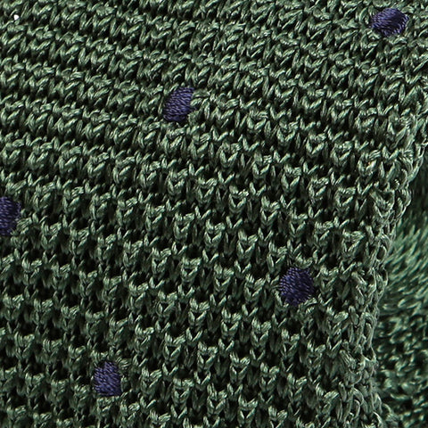Green Polka Dot Silk Knitted Tie