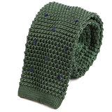 Green Polka Dot Silk Knitted Tie - Handmade Limited Edition Ties by Tie Doctor