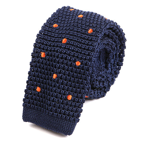 Navy & Orange Polka Dot Silk Knitted Tie - Handmade Limited Edition Ties by Tie Doctor