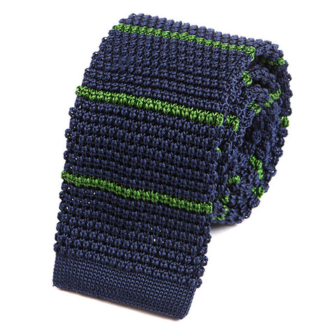 Navy and Green Striped Silk Knitted Tie