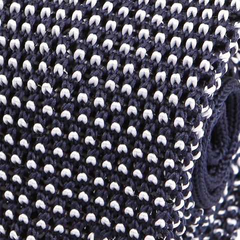 Navy & White Raised Knitted Tie - Handmade Silk Wool And Knitted Ties by Tie Doctor