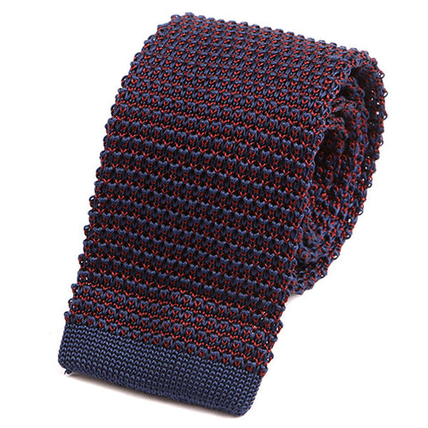 Navy & Red Fusion Silk Knitted Tie - Handmade Silk Wool And Knitted Ties by Tie Doctor