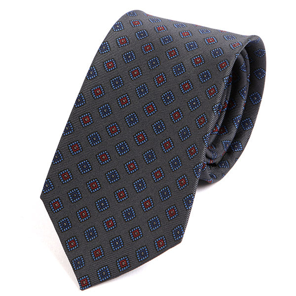 Grey & Red Macclesfield Silk Tie - Handmade Silk Wool And Knitted Ties by Tie Doctor