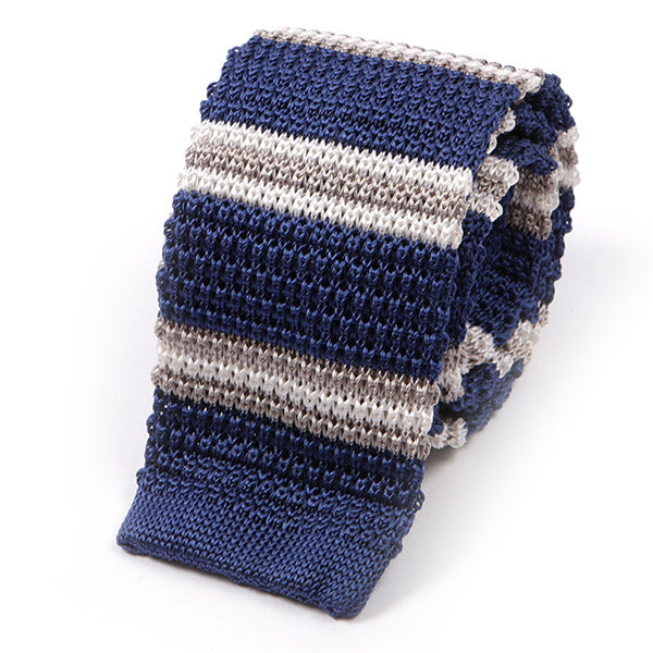 Blue & Grey Silk Knitted Tie