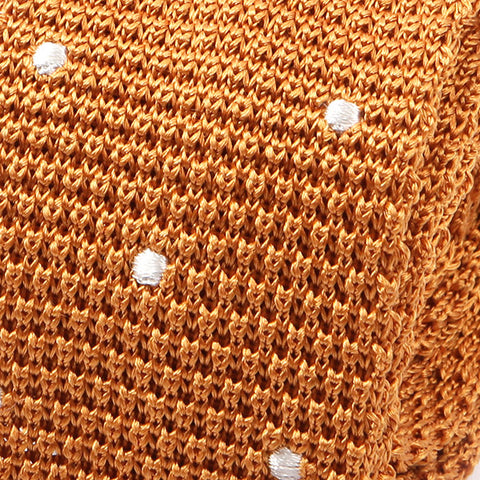 Light Orange Polka Dot Silk Knitted Tie