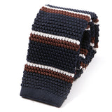 Navy & Brown Striped Silk Knitted Tie