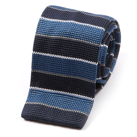 Blue Striped Fine Silk Knitted Tie
