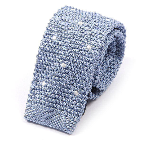 Light Blue Polka Dot Silk Knitted Tie