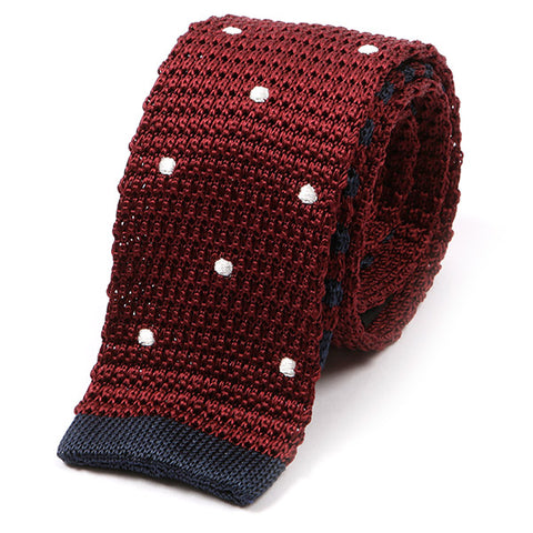 Burgundy Red Tipped Polka Dot Silk Knitted Tie