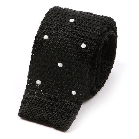 Black Polka Dot Silk Knitted Tie
