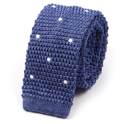 Blue Polka Dot Silk Knitted Tie