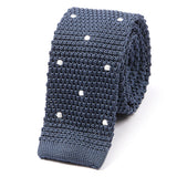 Metallic Blue Polka Dot Silk Knitted Tie