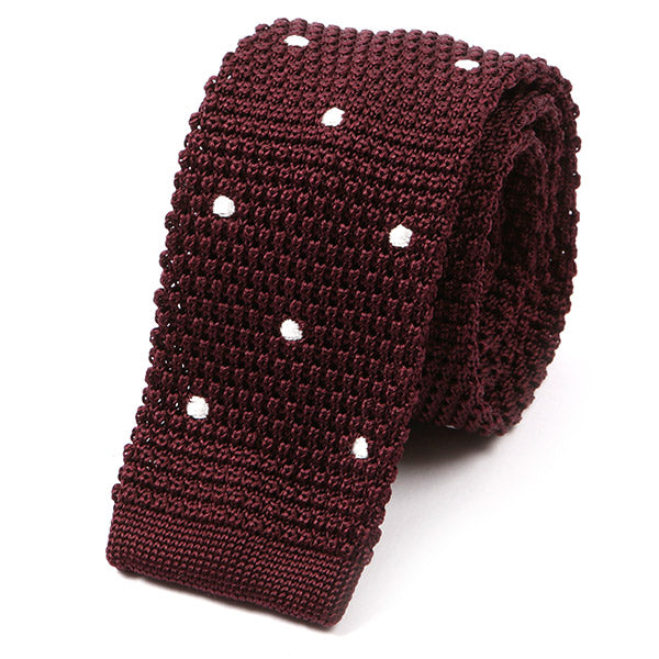 Dark Red Wine Polka Dot Silk Knitted Tie