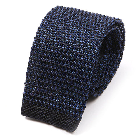 Navy Blue Highlight Silk Knitted Tie