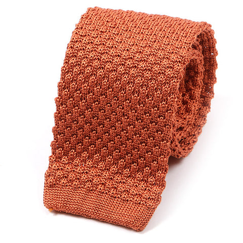Orange Raised Silk Knitted Tie