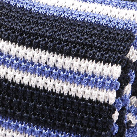 Navy & White Stripe Silk Knitted Tie