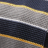 Navy & Grey Fine Stripe Silk Knitted Tie