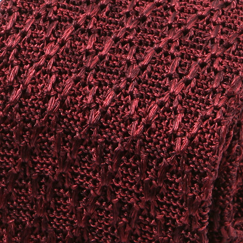 Burgundy Red Net Silk Knitted Tie