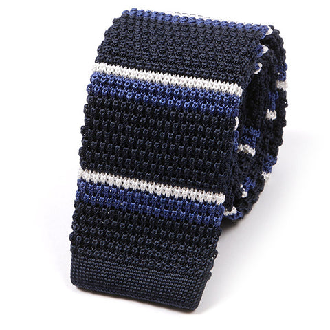 Navy & Light Blue Striped Silk Knitted Tie