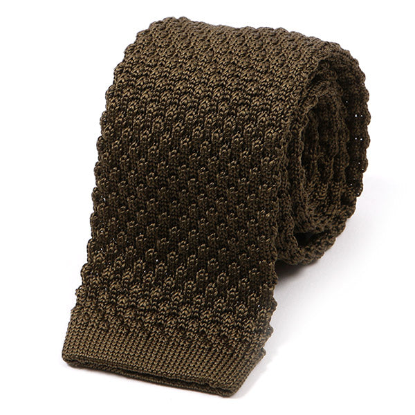 Seaweed Green Raised Silk Knitted Tie