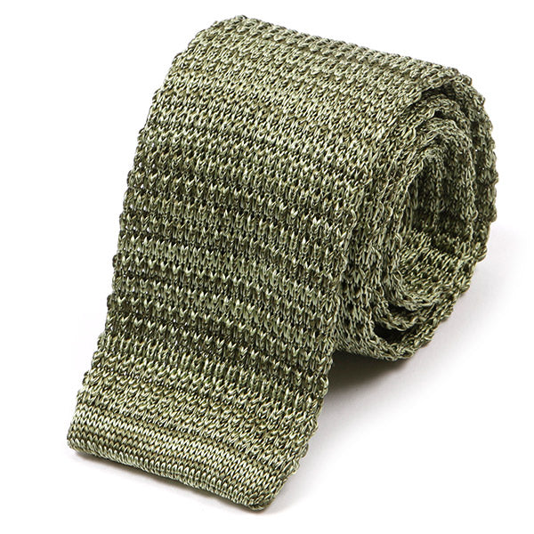 Pear Green Silk Knitted Tie