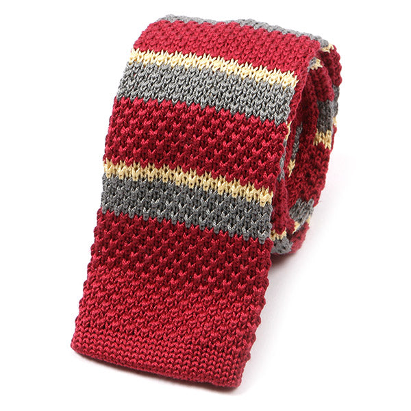 Red & Yellow Wool Blend Silk Knitted Tie
