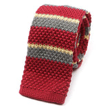 Red & Yellow Silk and Wool Blend Knitted Tie