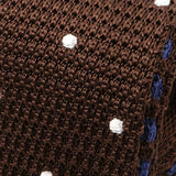 Chocolate Brown Tipped Polka Dot Silk Knitted Tie