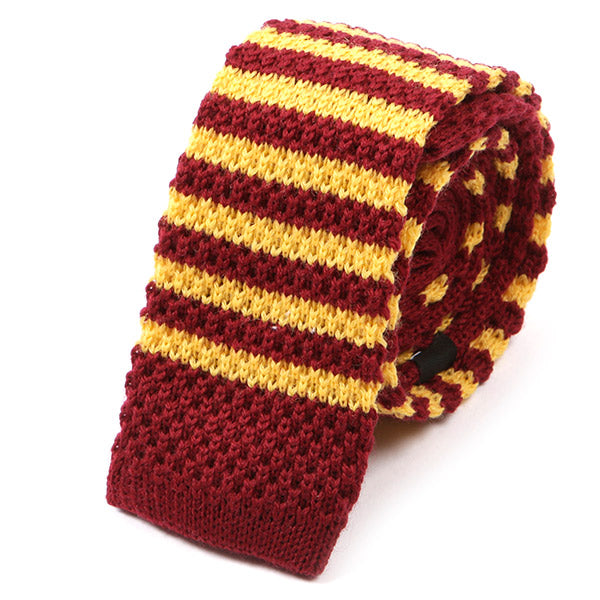 Red And Yellow Striped Wool Knit Tie