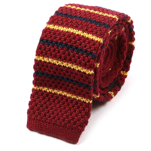 Red And Navy Blue Striped Wool Knitted Tie