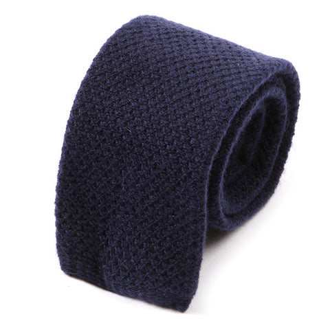 Navy Blue Wool Knitted Tie