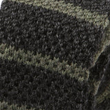 Black Marl And Grey Striped Wool Knitted Tie