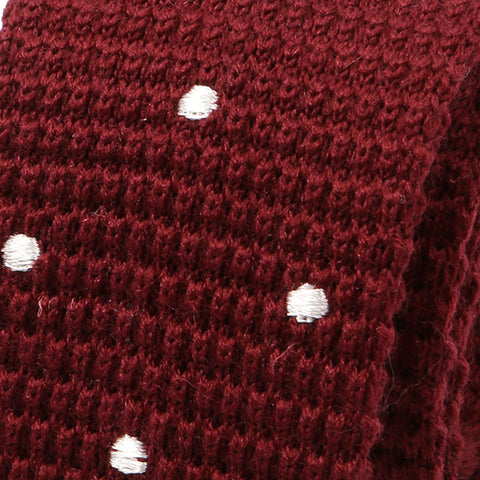 Dark Red Polka Dot Wool Knitted Tie