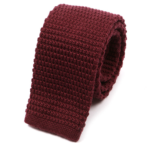 Wine Wool Knitted Tie