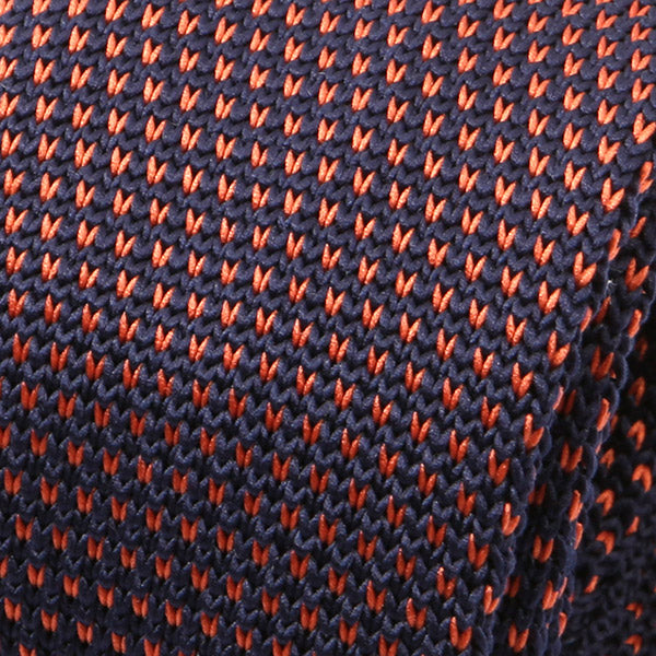 Navy & Orange Pointed Knitted Tie
