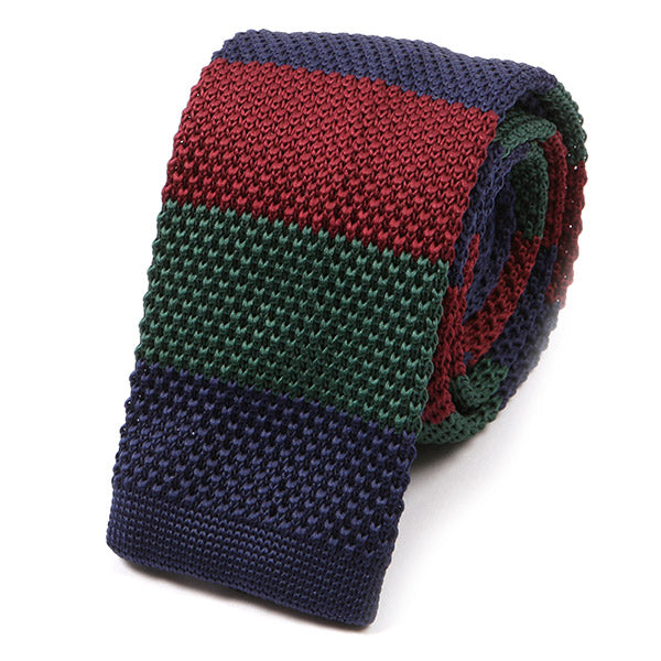 Navy Green and Red Stripe Knitted Tie