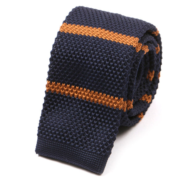 Navy and Brown Stripe Knitted Tie