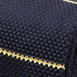 Navy and Yellow Stripe Knitted Tie
