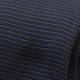 Navy Polyester Pointed Knit Tie