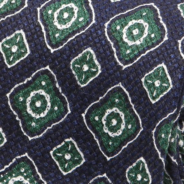 Navy & Green Motif Silk & Wool Blend Tie
