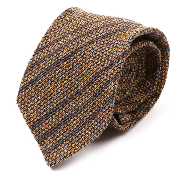 Brown Silk & Linen Striped Tie