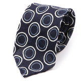 Blue Circle Silk Blend And Wool Tie