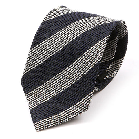 Navy & White Striped Silk Tie